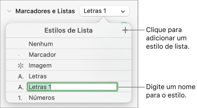 """Menu local """"Estilos de Lista"""" com o botão Adicionar no canto superior direito e um nome de estilo de marcador de posição com o texto selecionado."""