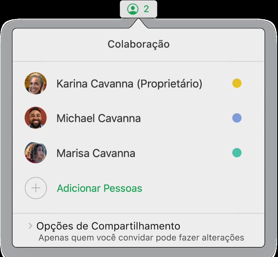 Menu Colaboração mostrando os nomes das pessoas que estão colaborando na planilha. As opções de compartilhamento se encontram abaixo dos nomes.