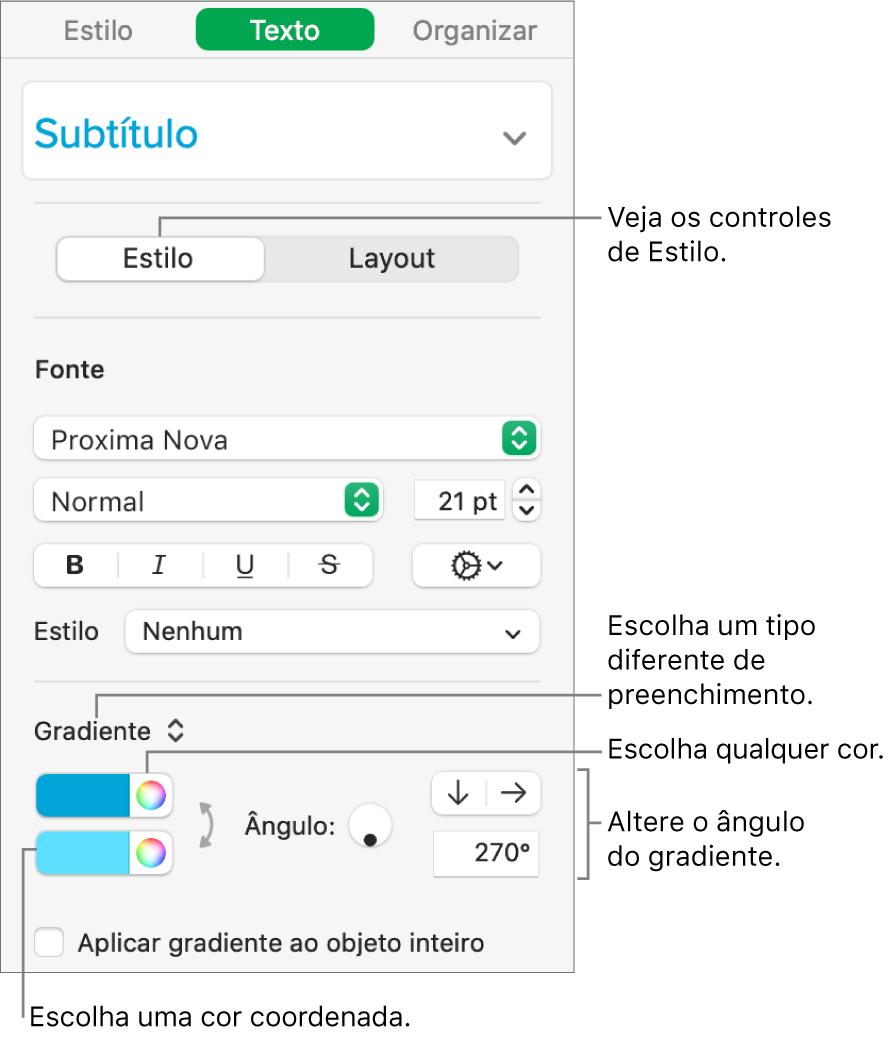 Barra lateral Texto, mostrando como alterar a cor do texto.