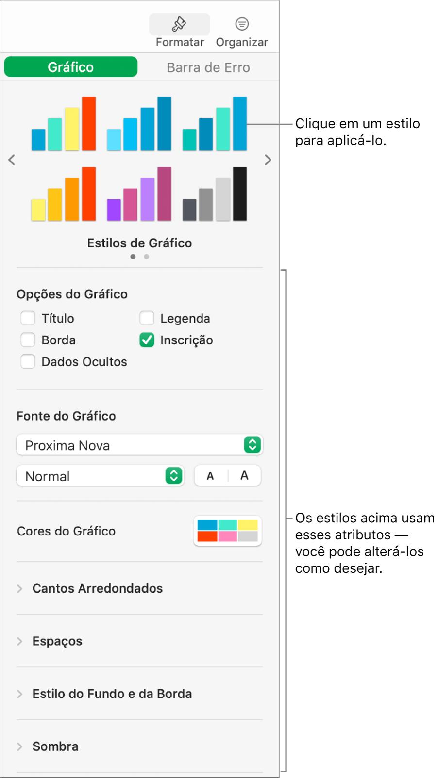 Barra lateral Formatar mostrando os controles para formatar gráficos.