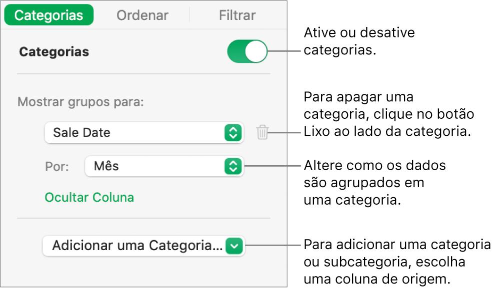 A barra lateral de categorias com opções para desativar categorias, excluir categorias, reagrupar dados, ocultar uma coluna de origem e adicionar categorias.