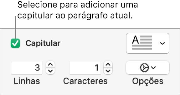 A caixa Capitular está selecionada e um menu local aparece à sua direita. Abaixo estão controles para definir a altura da linha, o número de caracteres e outras opções.