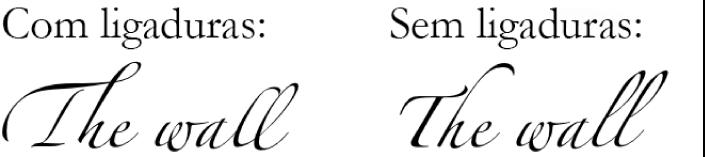 Exemplos de texto com e sem ligaduras.