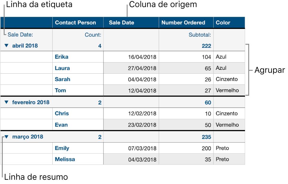 Uma tabela categorizada a mostrar a coluna de origem, grupos, linha de resumo e linha de etiqueta.