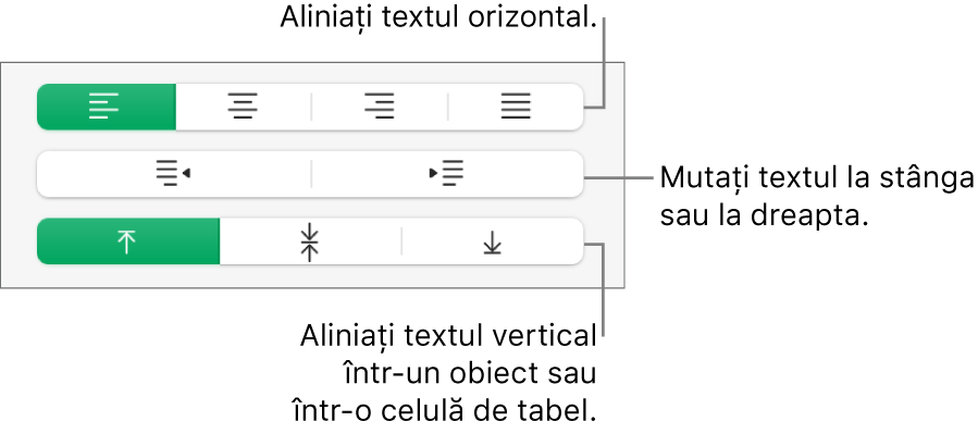 Secțiunea Aliniere afișând butoanele pentru alinierea textului pe orizontală, deplasarea textului la stângă sau la dreapta și alinierea textului pe verticală.