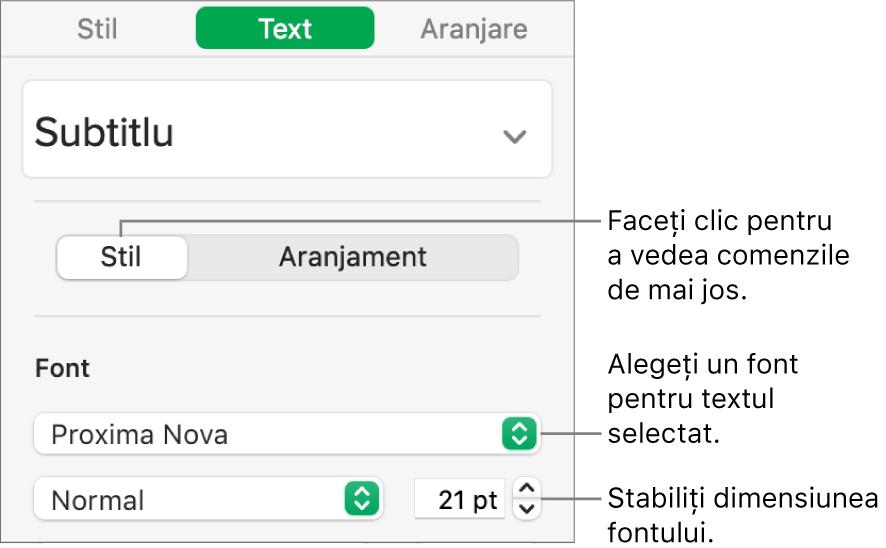 Comenzi de text din secțiunea Stil a barei laterale Format pentru configurarea fontului și a dimensiunii fontului.