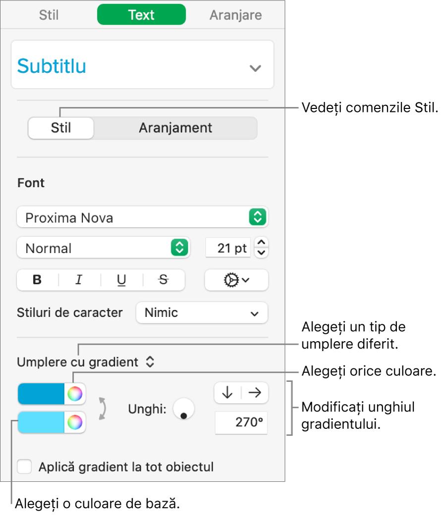 Bara laterală Text, arătând cum să schimbați culoarea textului.