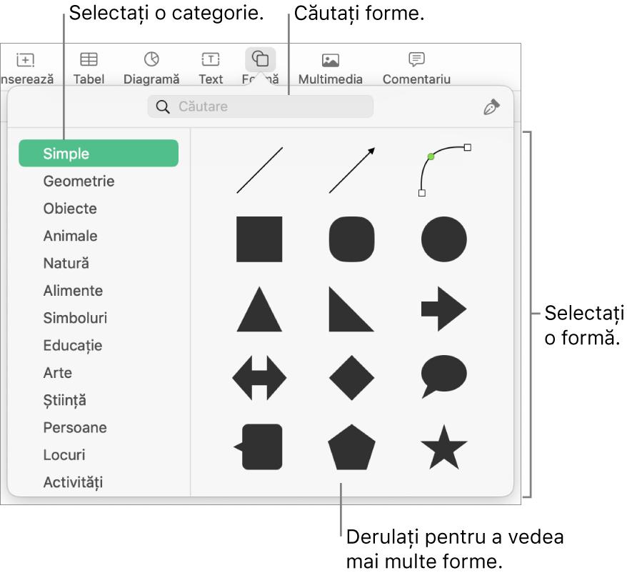 Biblioteca de forme, cu categoriile enumerate în partea stângă și formele afișate în partea dreaptă. Puteți utiliza câmpul de căutare din partea de sus pentru a găsi forme și derulați pentru a vedea mai multe.