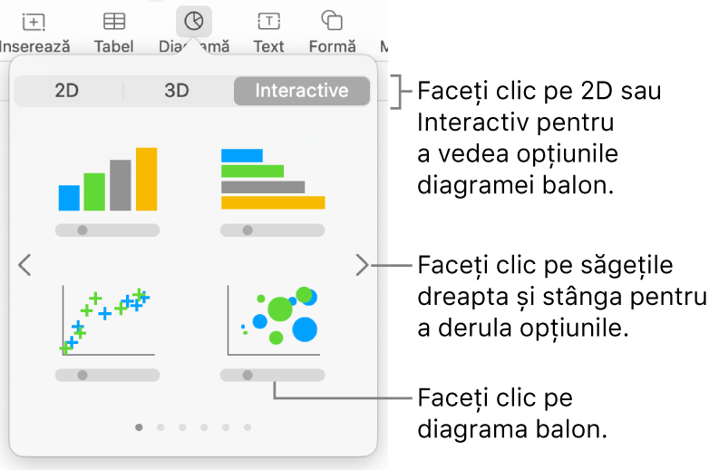 Meniul diagramei afișând diagrame interactive, inclusiv o opțiune de diagramă balon.