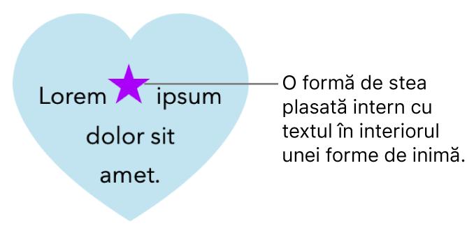 O formă stea apare intern cu text într-o formă inimă.