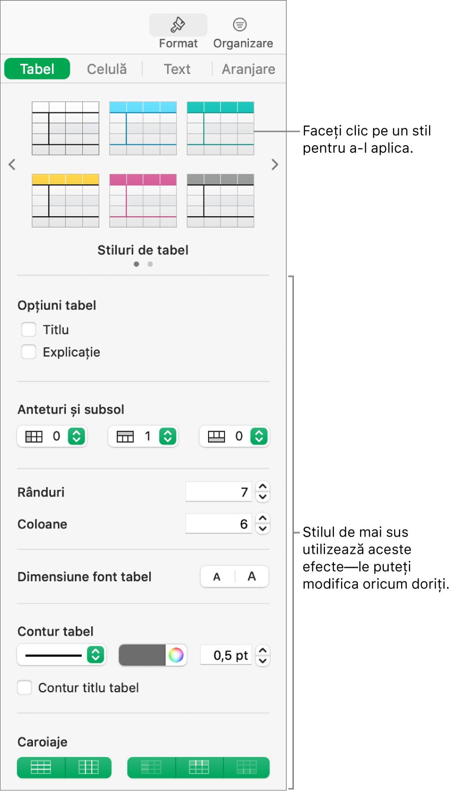 Bara laterală Format afișând stilurile de tabel și opțiunile de formatare.