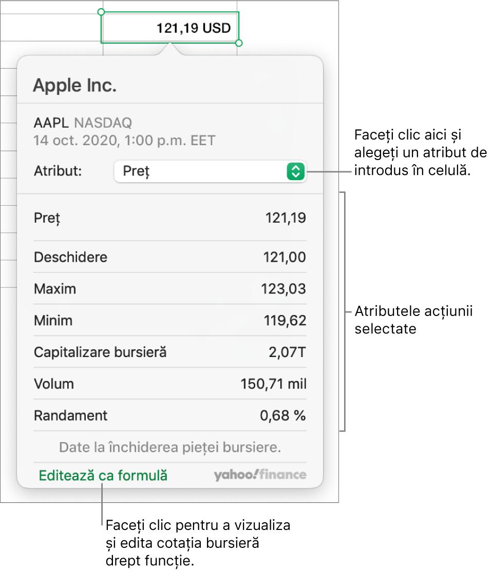 Fereastră de dialog pentru inserarea informațiilor despre un atribut bursier, având Apple ca acțiune selectată.