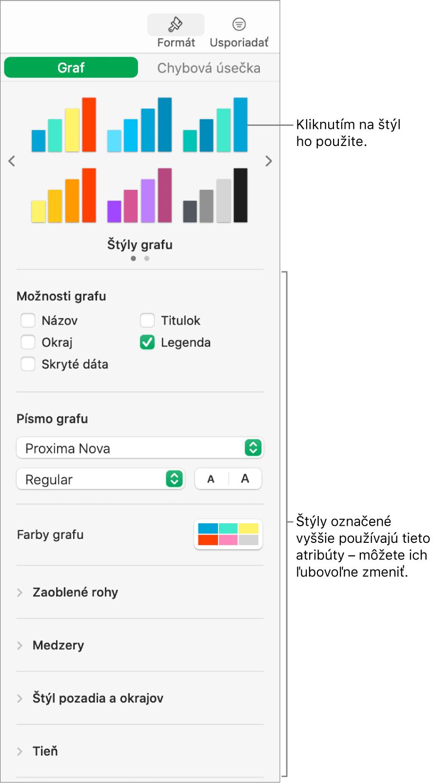 Postranný panel formátovania so zobrazenými ovládacími prvkami na formátovanie grafov.