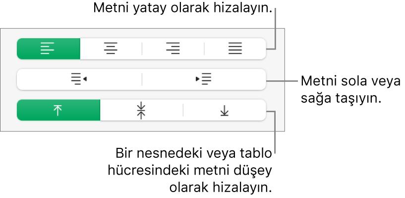 Metin hizalama düğmelerine belirtimler gösteren Biçim kenar çubuğunun Hizalama bölümü.