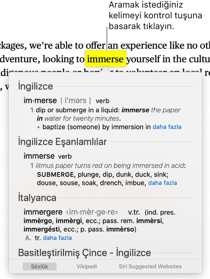 Vurgulanan sözcüklü bir metin ile bunun tanımını ve eşanlamlılar sözlüğü girişini gösteren bir pencere. Pencerenin en altındaki üç düğme sözlüğe, Wikipedia'ya ve Siri tarafından önerilen web sitelerine bağlantı sunar.