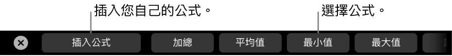 MacBook Pro 觸控列中帶有控制項目,用於插入公式和選擇常用公式。