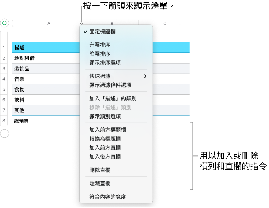 表格直欄選單,包含加入或刪除橫列和直欄的指令。