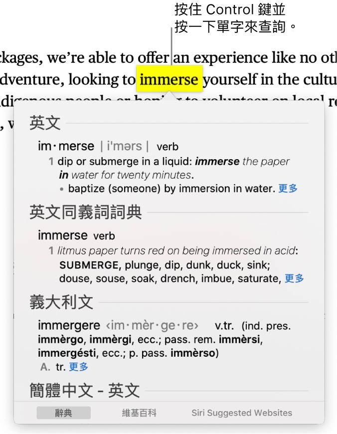 含有反白單字的文字和視窗會顯示其定義和同義詞詞條。視窗底部的三個按鈕提供了字典、維基百科和 Siri 建議網站的連結。