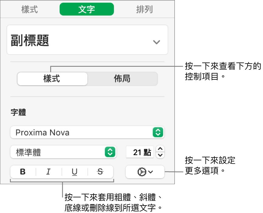 側邊欄中帶有說明文字(如「粗體」、「斜體」、「底線」和「刪除線」按鈕)的「樣式」控制項目。