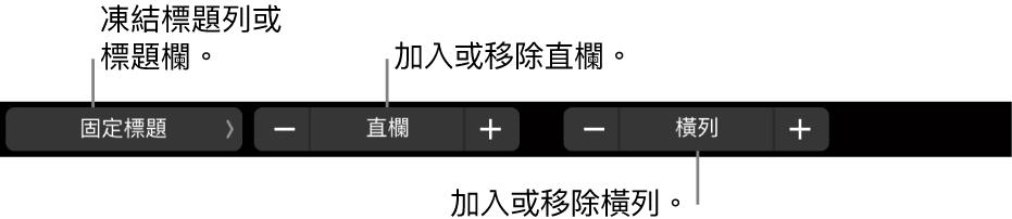 MacBook Pro 觸控列中帶有控制項目,用於凍結標題列或標題欄、加入或移除直欄,以及加入或移除橫列。