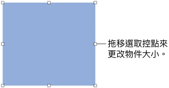 其邊線上帶有白色方形的物件,用來更改物件的大小。