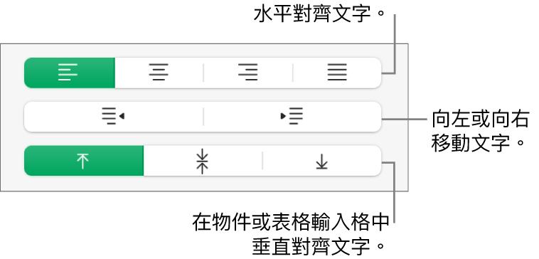 「對齊方式」區域,顯示水平對齊文字、向左或向右移動文字以及垂直對齊文字的按鈕。
