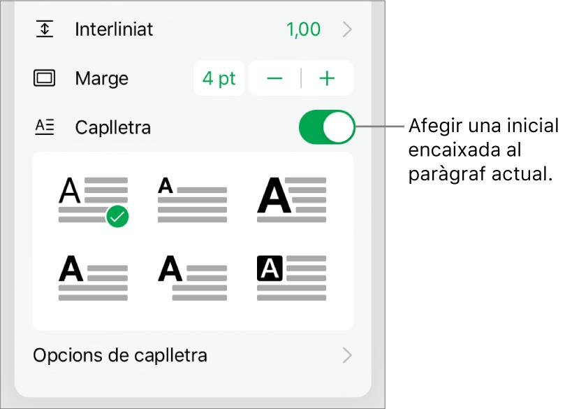Els controls de Caplletra, ubicats a la part inferior del menú Text.