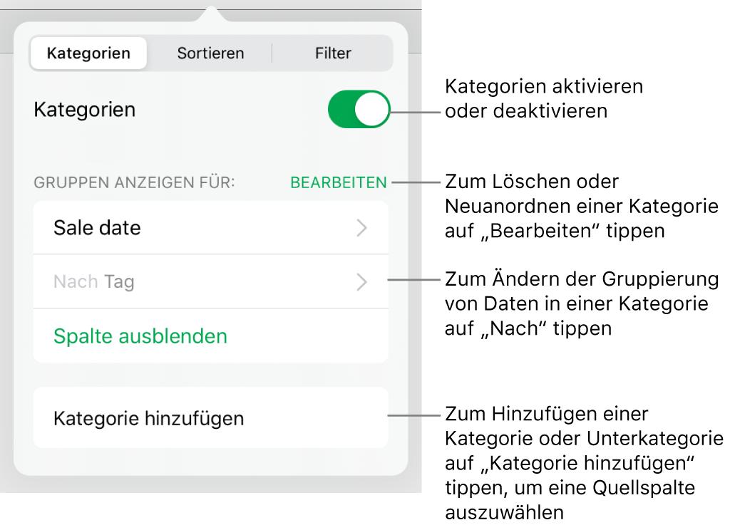 """Das Menü """"Kategorien"""" für iPad mit Optionen zum Deaktivieren von Kategorien, zum Löschen von Kategorien, zum Neugruppieren von Daten, zum Ausblenden einer Quellenspalte und zum Hinzufügen von Kategorien"""