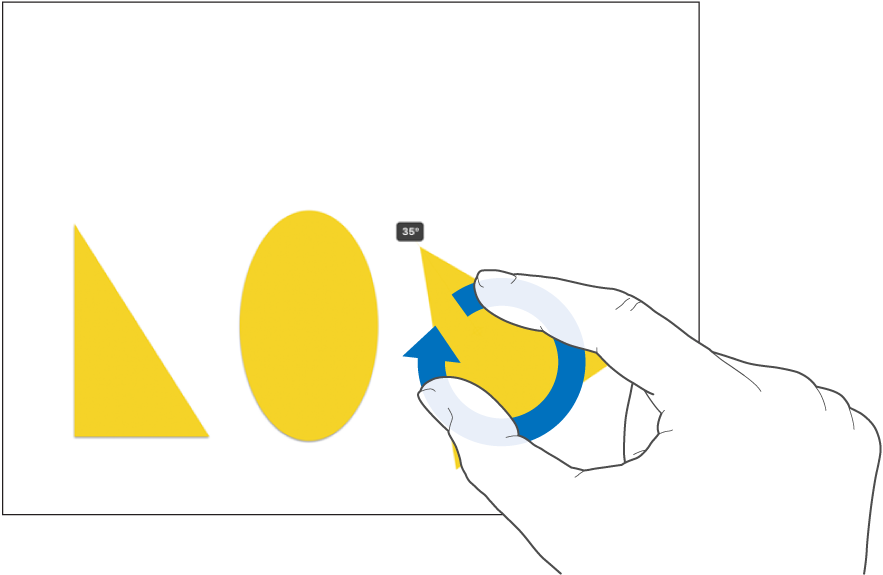 Drehen eines Objekts mit zwei Fingern