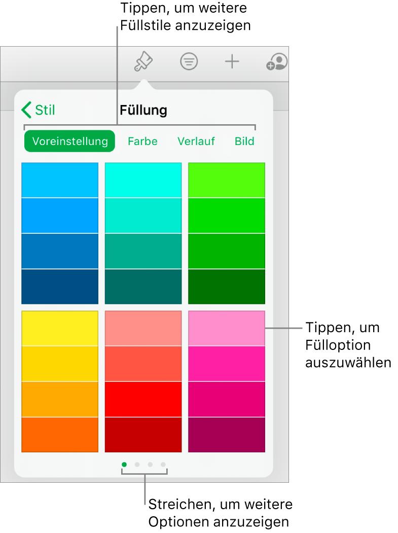 """Fülloptionen im Tab """"Stil"""" der Taste """"Format"""""""