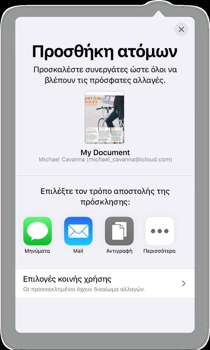 Η οθόνη «Προσθήκη ατόμων» στην οποία εμφανίζεται μια φωτογραφία του υπολογιστικού φύλλου προς κοινή χρήση. Κάτω από αυτήν υπάρχουν κουμπιά για την αποστολή της πρόσκλησης με διάφορους τρόπους, όπως Mail, «Αντιγραφή συνδέσμου» και «Περισσότερα». Στο κάτω μέρος υπάρχει το κουμπί «Επιλογές κοινής χρήσης».