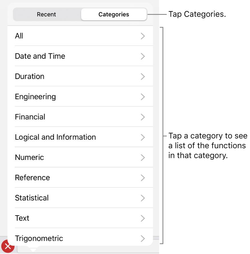 The Functions Browser with the Categories button selected, and the list of categories below.