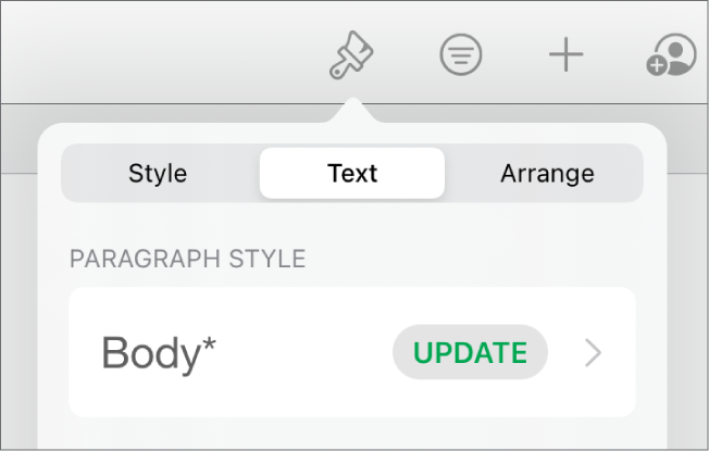 A paragraph style with an asterisk next to it and an Update button on the right.