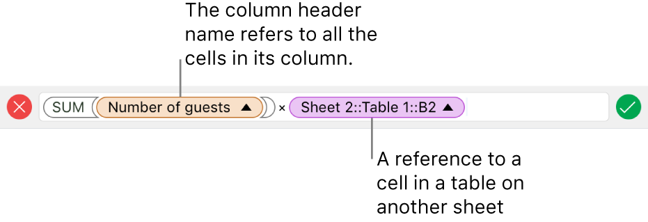 The Formula Editor showing a formula that refers to a column in one table and a cell in another table.