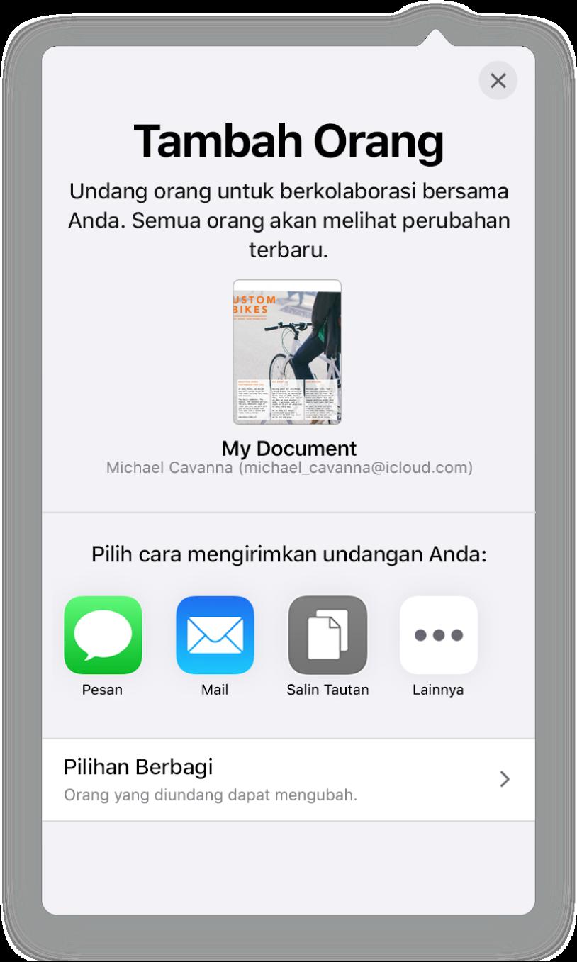 Layar Tambah Orang menampilkan gambar spreadsheet untuk dibagikan. Di bawahnya tombol untuk cara mengirimkan undangan, termasuk Mail, Salin Tautan, dan Lainnya. Di bagian bawah terdapat tombol Pilihan Bagikan.