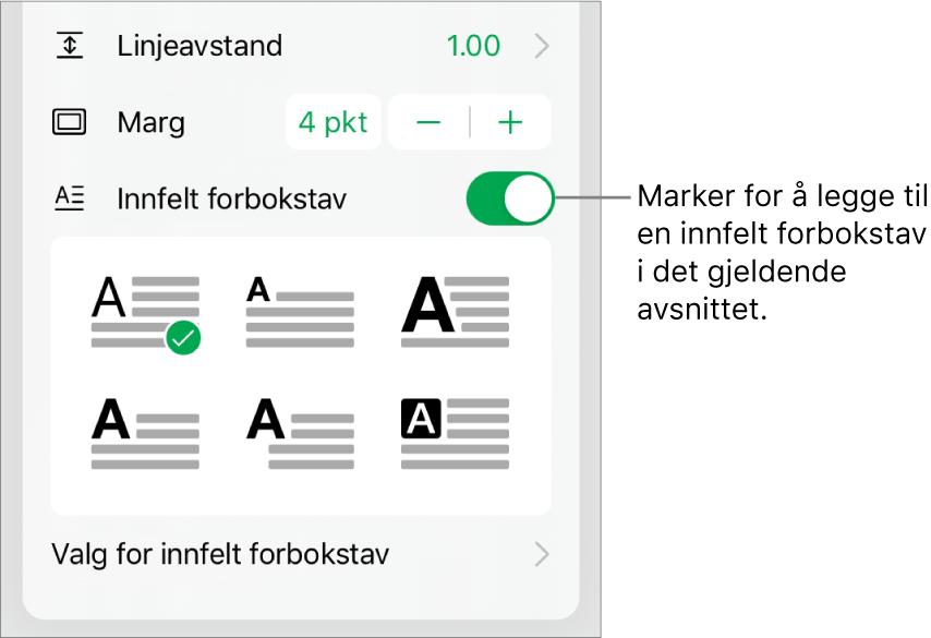 Innfelt forbokstav-kontrollene nederst i Tekst-menyen.