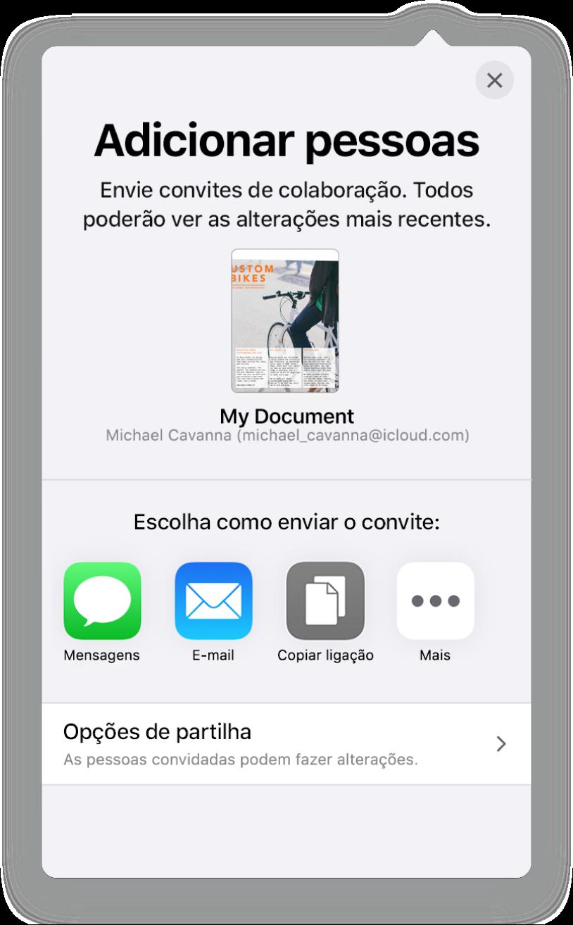 """O ecrã """"Adicionar pessoas"""" a mostrar uma imagem da folha de cálculo a ser partilhada. Por baixo encontram botões para formas de enviar o convite, incluindo Mail, """"Copiar hiperligação"""" e Mais. Na parte inferior encontra-se o botão """"Opções de partilha""""."""