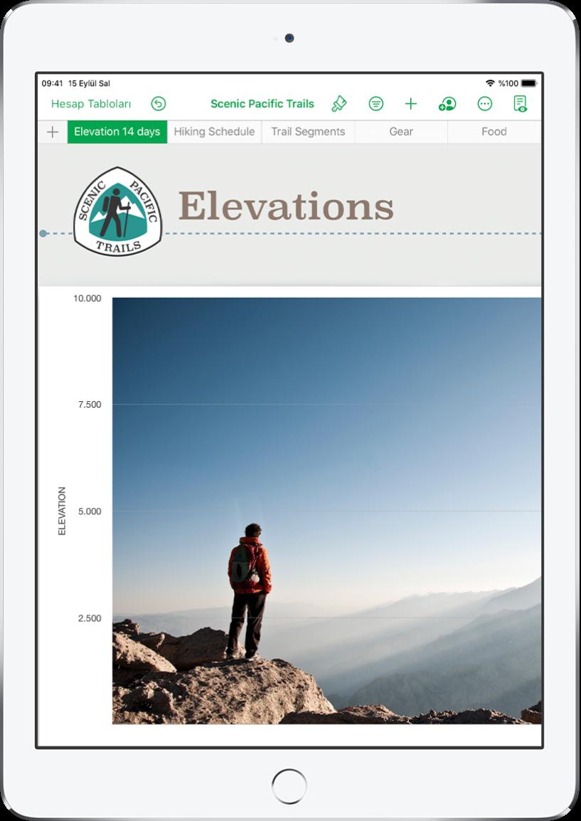 Doğa yürüyüşü bilgilerini takip eden bir hesap tablosu. Ekranın üst tarafında sayfa adları gösteriliyor. Sayfa Ekle düğmesi solda, ardından Yükseklik, Doğa Yürüyüşü Programı, Parkur Bölümleri, Eşyalar ve Yiyecekler sayfa sekmeleri geliyor.