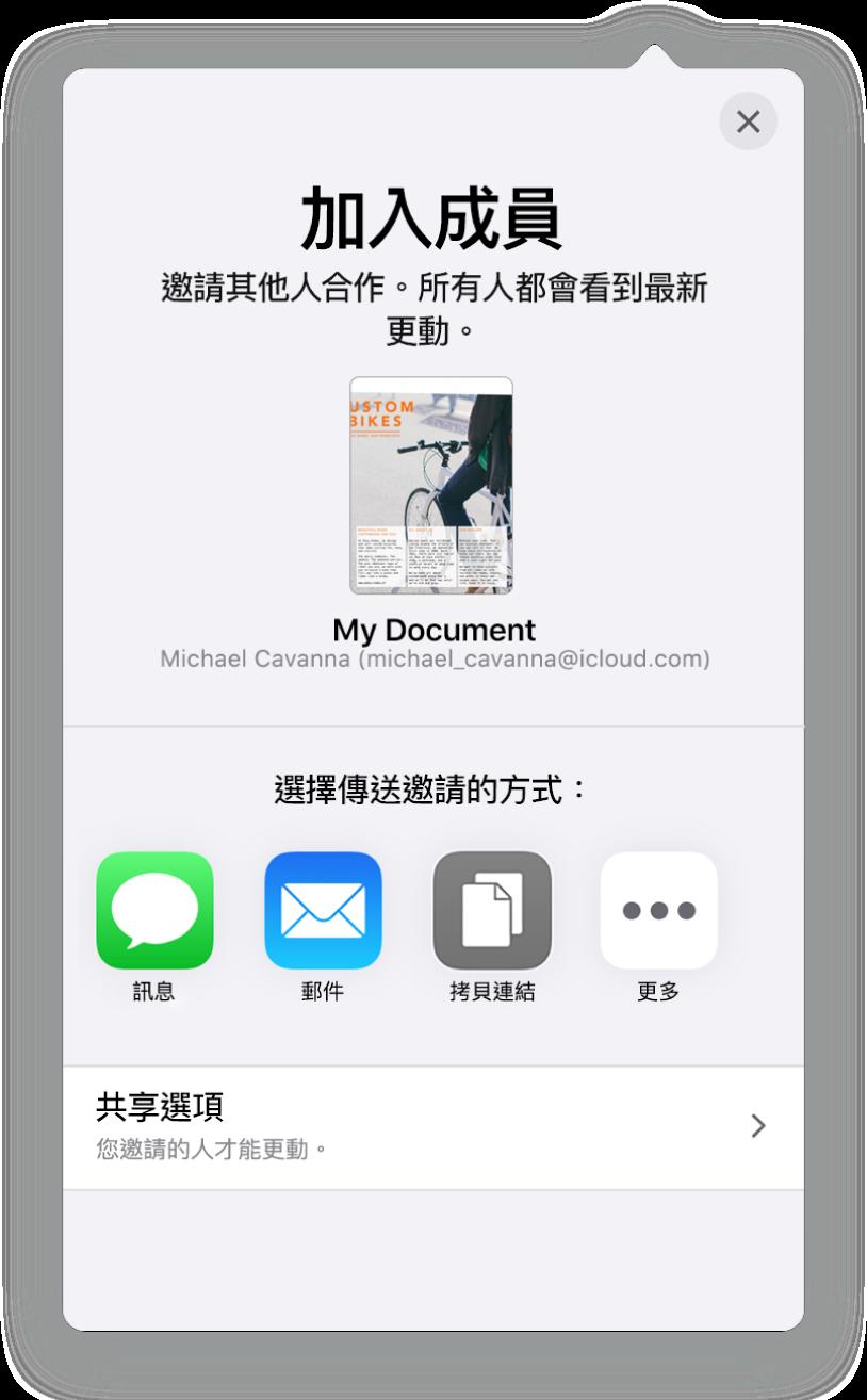 「加入人員」畫面顯示要分享的試算表圖片。下方的按鈕為傳送邀請的方式,包含「郵件」、「拷貝連結」以及「更多」。底部為「分享選項」按鈕。