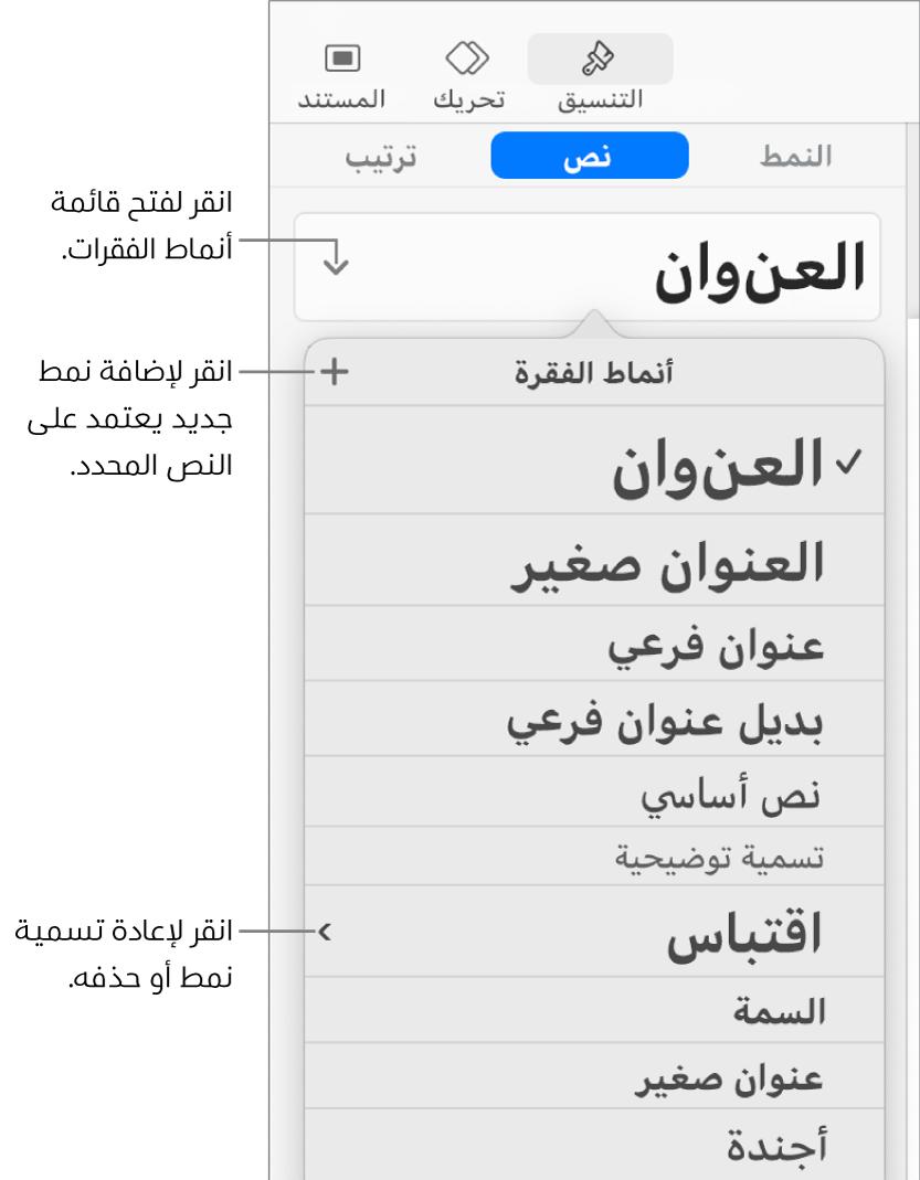 قائمة أنماط الفقرة، تظهر بها عناصر تحكم لإضافة نمط أو تغييره.