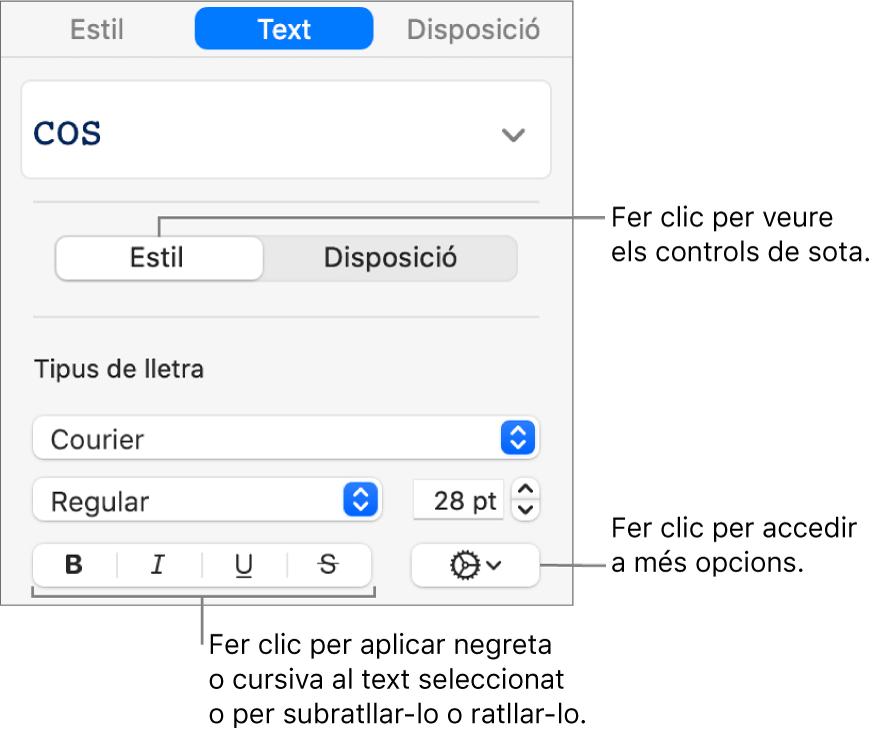 Els controls d'estil de la barra lateral amb llegendes per als botons Negreta, Cursiva, Subratllar i Ratllar.