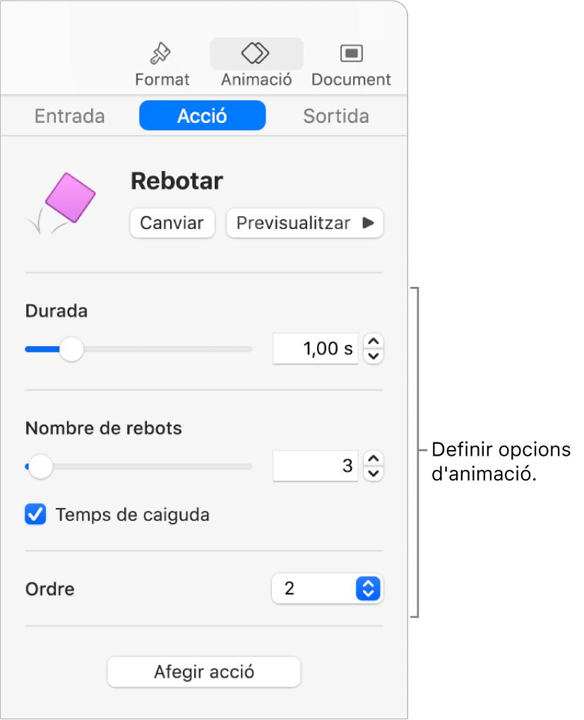 Els controls Acció de la secció Animació de la barra lateral.