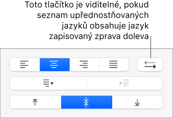 Tlačítko Směr odstavce mezi ovládacími prvky pro zarovnání textu
