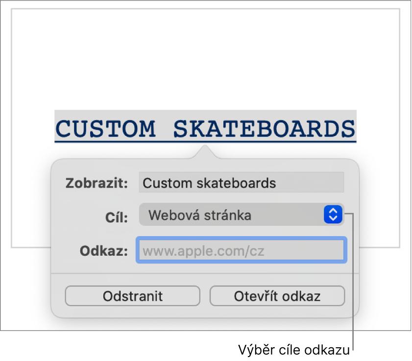 Ovládací prvky editoru odkazů spolem Zobrazit, místní nabídkou Cíl odkazu (ve které je vybraná volba Webová stránka) apolem Odkaz. Pod těmito ovládacími prvky se nacházejí tlačítka Odstranit aOtevřít odkaz.
