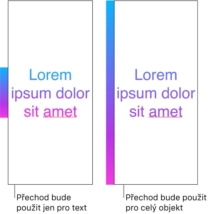 Ukázka textu spřechodem použitým pouze pro text. Vtextu je zobrazeno celé spektrum barev. Vedle je další ukázka textu, ve kterém je přechod použit pro celý objekt. Vtomto případě se vtextu zobrazuje pouze část barevného spektra.