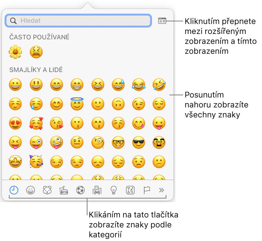 Okno Speciální znaky, obsahující emotikony, tlačítka pro různé typy symbolů udolního okraje ataké popisek tlačítka pro zobrazení okna Znaky vplné velikosti
