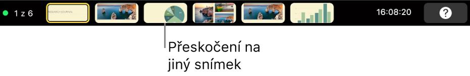 TouchBar na MacBookuPro, na němž jsou vidět ovládací prvky pro ukončení prezentace, přeskočení na různé snímky nebo přepnutí monitoru prezentujícího
