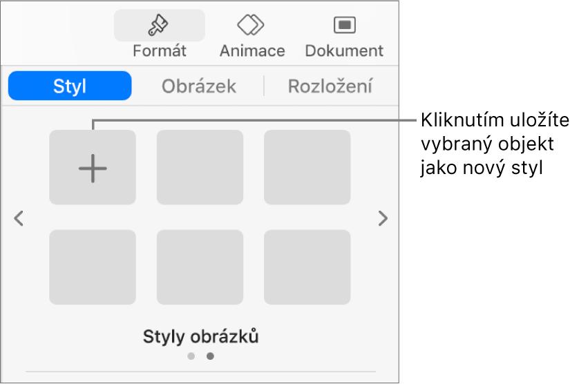 Karta Styl na bočním panelu Formát sjedním stylem textového rámečku, stlačítkem Vytvořit styl vpravo od něj ase čtyřmi prázdnými maketami stylů