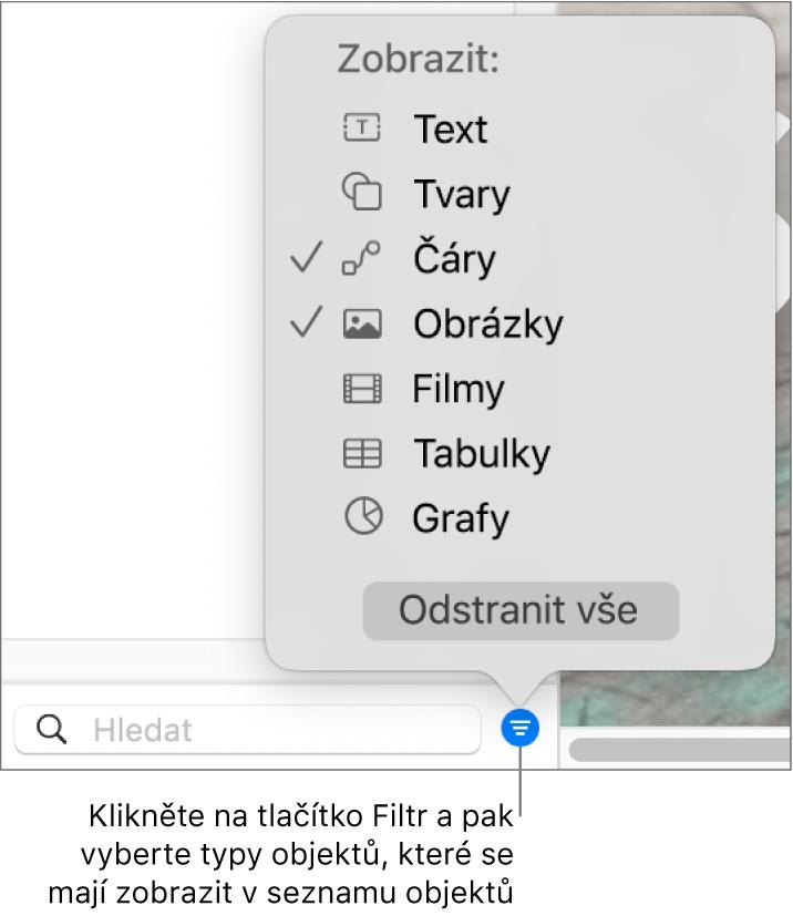 Otevřená místní nabídka Filtr se seznamem typů objektů, které mohou být na seznamu (text, tvary, čáry, obrázky, filmy, tabulky agrafy)