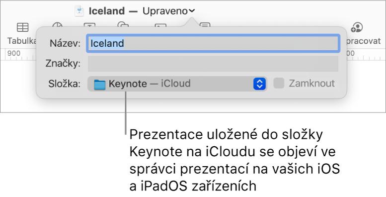 Dialog Uložit pro prezentaci sKeynote – iCloud vmístní nabídce Kam